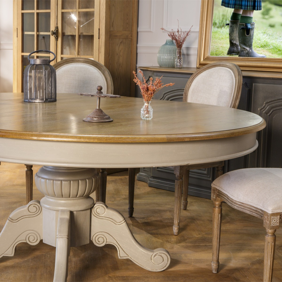 table extensible 8 10 couverts patine shabby grise amboise. Black Bedroom Furniture Sets. Home Design Ideas