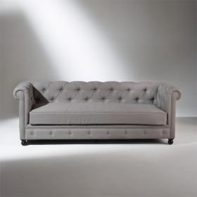 Canapé CHESTERFIELD, lin gris