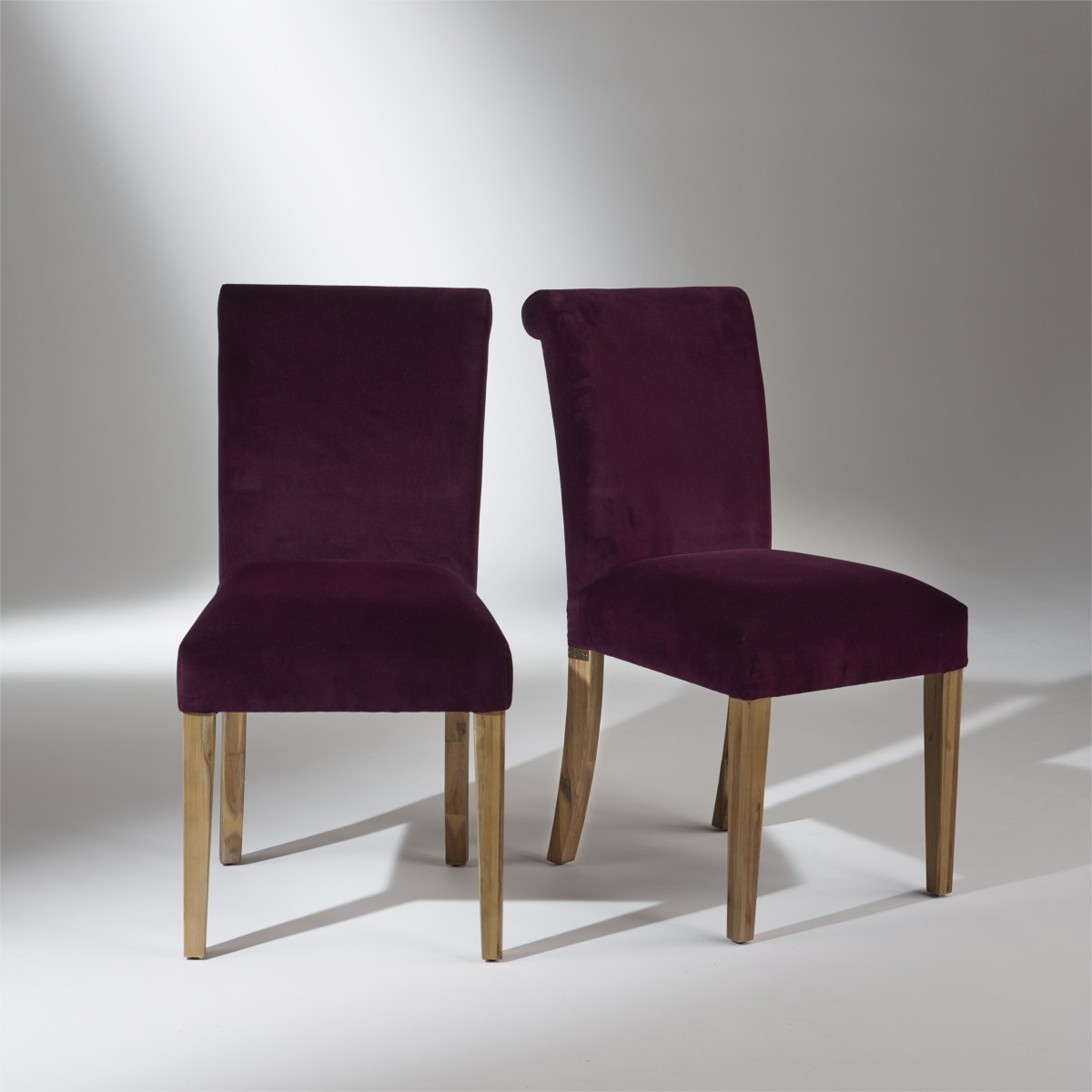 2 chaises de table en velours pieds bois velours alix Chaises fauteuil salle a manger