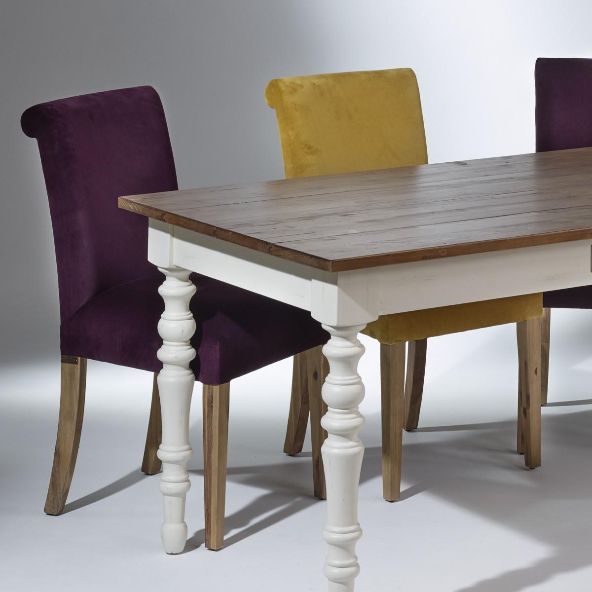 2 Chaises de table en velours, pieds bois, velours ALIX