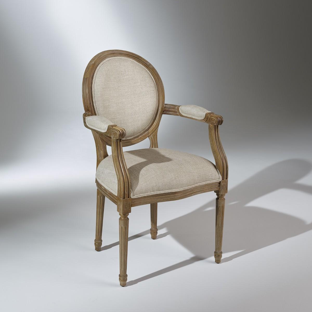 fauteuil medaillon bras patine bois naturel et lin. Black Bedroom Furniture Sets. Home Design Ideas
