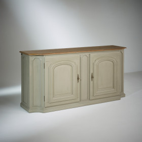 ELISABETH, Cabinet with solid oak top, Shabby Grey