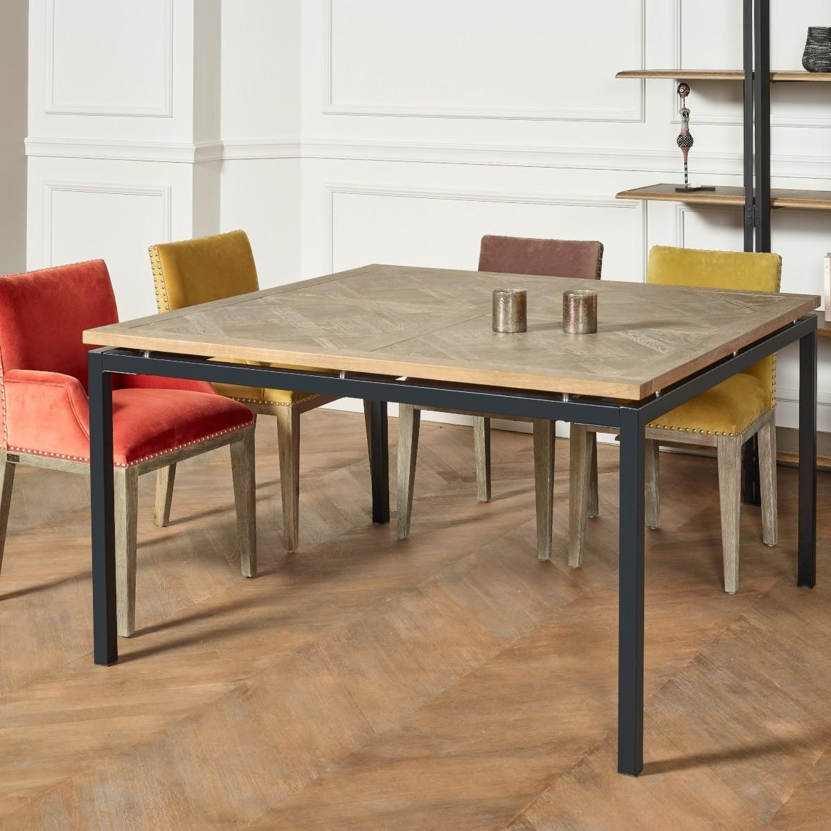 Table A Manger Carree table carrée, chêne massif, pieds métal, zazie