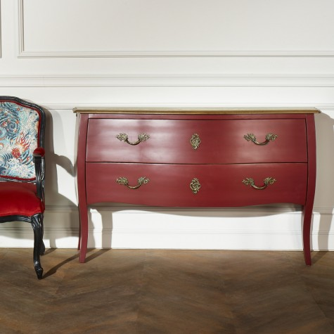 Commode Aliénor, chêne, patine rouge