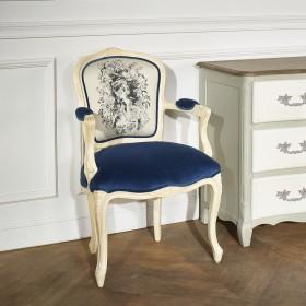 Fauteuil Cabriolet, Louvre tissus Bleuet