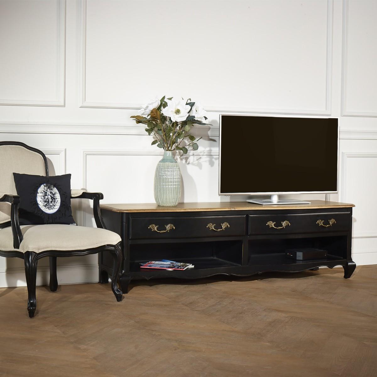 Meuble Tv Grande Taille meuble tv savoy, 2 niches, 2 tiroirs, noir