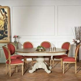 Ensemble Table Amboise grise, plateau chêne, pied central et 6 Chaises médaillon de Salle à manger
