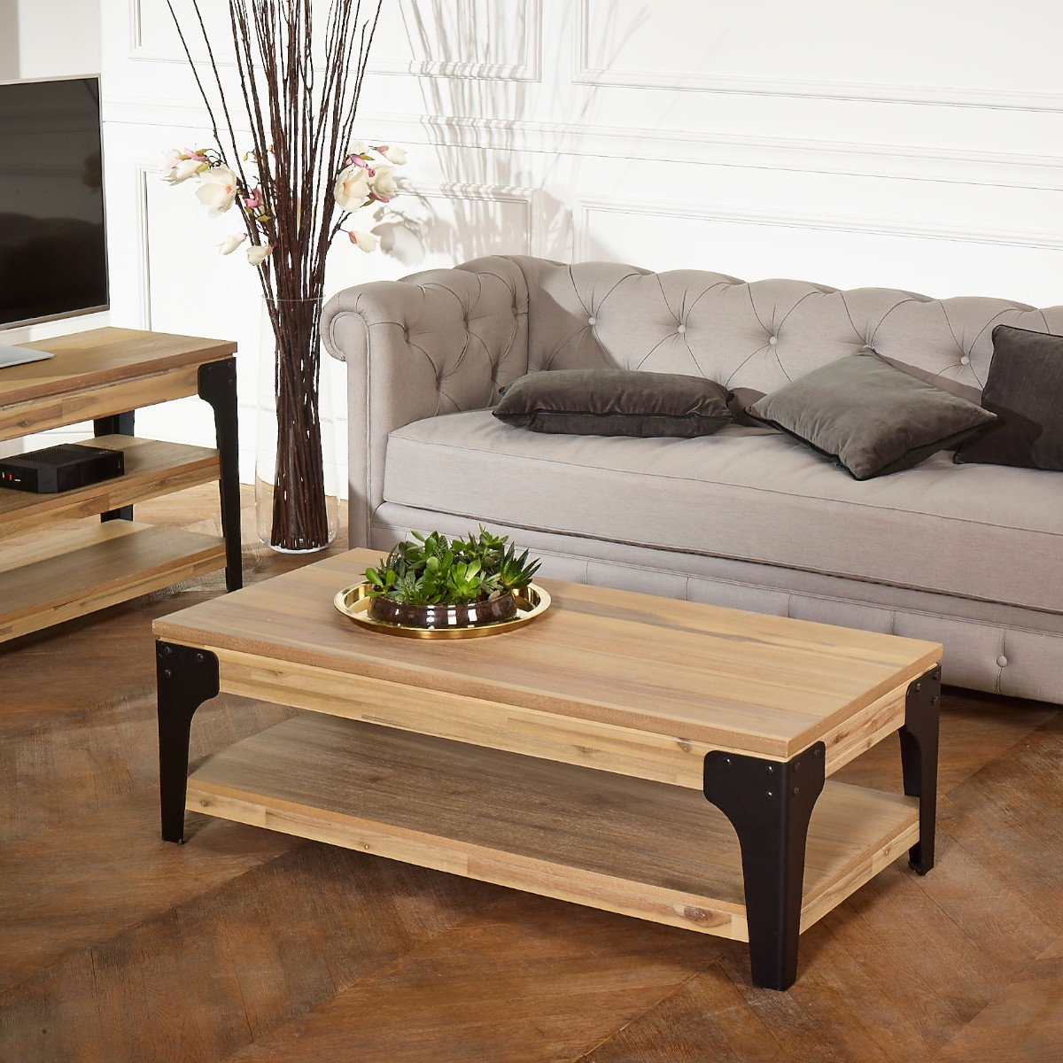 table basse baltimore double plateau patine colorado. Black Bedroom Furniture Sets. Home Design Ideas