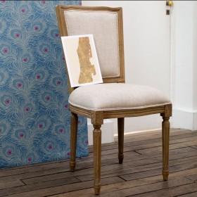 Chaises Marie Antoinette, patine bois cérusé grisé, lin prémium