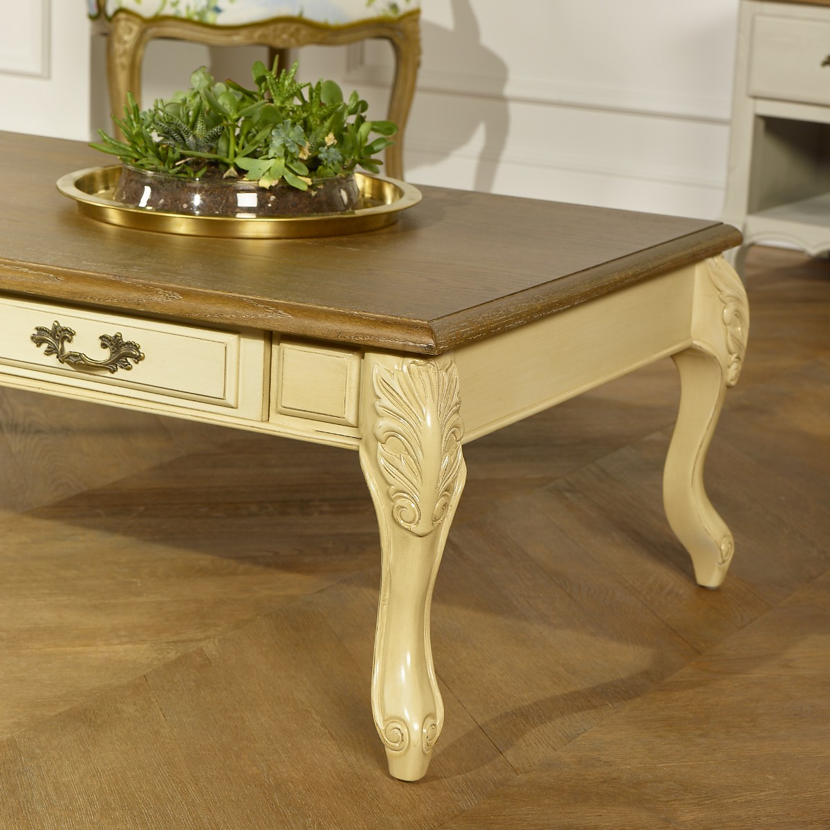 Table Basse Chene Patine Antiquaire Blanc Ivoire Marianne