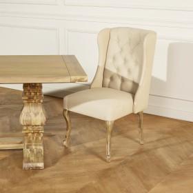 MADISON Fauteuil de table en lin, capitonné,ROBIN DES BOIS