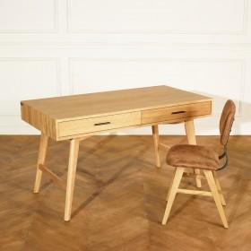Bureau en chêne, 140 cm, 2 tiroirs, BROOKLYN