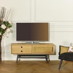 Petit meuble TV, chêne et cannage