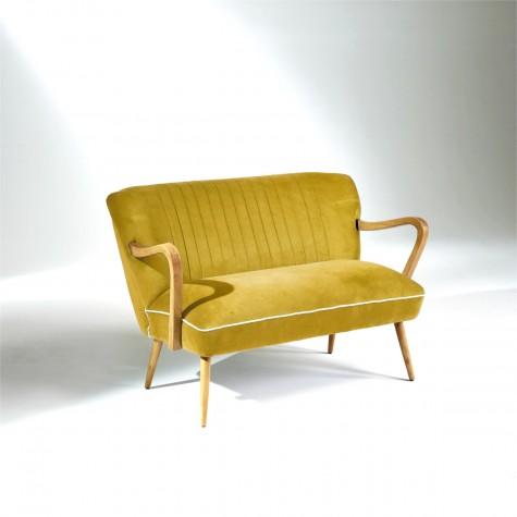 Banquette vintage velours jaune