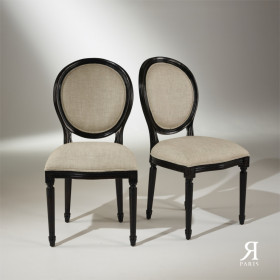 Set of 2 black Medaillon chairs / Premium linen