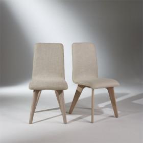 Chaise, chêne et lin, pieds fuselés, SIXTY