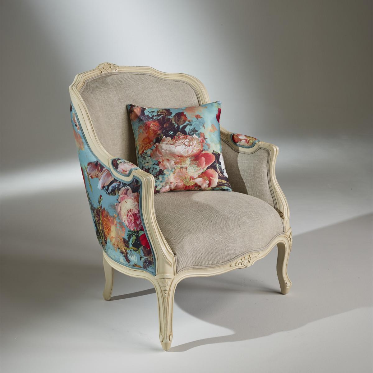 Tissu Jean Paul Gaultier fauteuil bergère gris, victor botanique, tissu jean paul