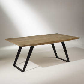 HECTOR Solid Oak Top, Dining Table, Metal Legs, 8-10 seats