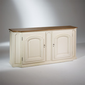 ELISABETH, Cabinet with solid oak top, Shabby White