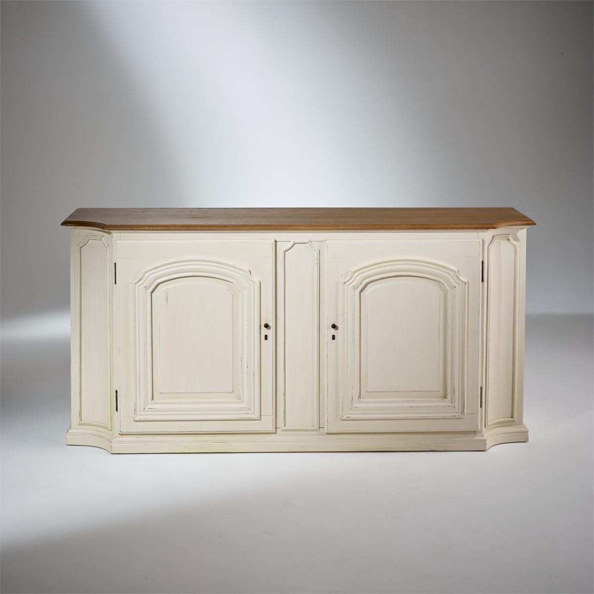 Patine Blanche Sur Bois buffet plateau chêne, patine blanc ivoire, 2 portes, elisabeth