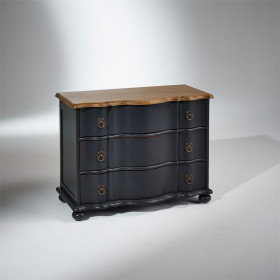 Commode, chêne, 3 tiroirs, Patine Anthracite, CHAUMONT